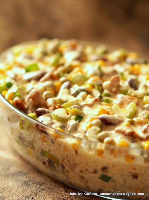 ryz zapiekany, kurczak, udka, warzywa konserwowe, warzywa w puszce, groszek, kukurydza, fasola czerwona, z piekarnika