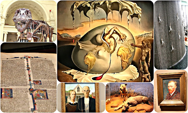 World art from the Book of Kells, Salvidor Dali, Van Gough, Lions of Tsavo, Dubai Waterfall Swimmers, and a T-Rex