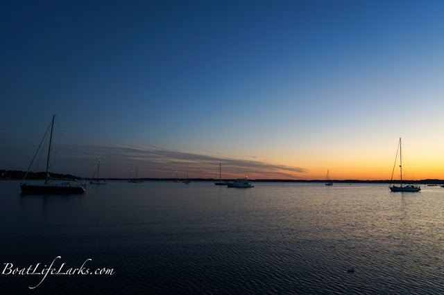 Anchored boats at sunset, Fishing Bay, Deltaville, VA