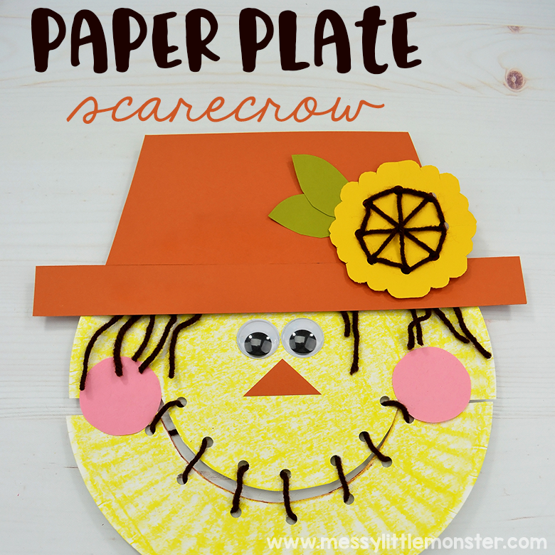 Scarecrow craft for kids - paper plate craft that includes a fine motor activity for preschoolers.