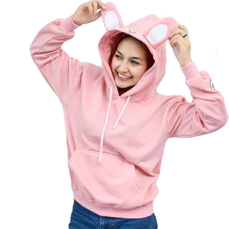 Jaket Sweater Hoodie Kekinian Bunny Wanita - Pink