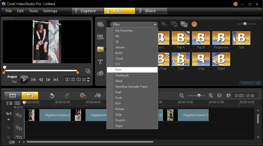 Menambakan Efek Transition Corel Video Studio 3