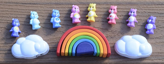 rainbow of care bears squishems