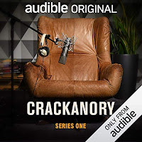 Crackanory audiobook cover, featuring a leather chair and microphone