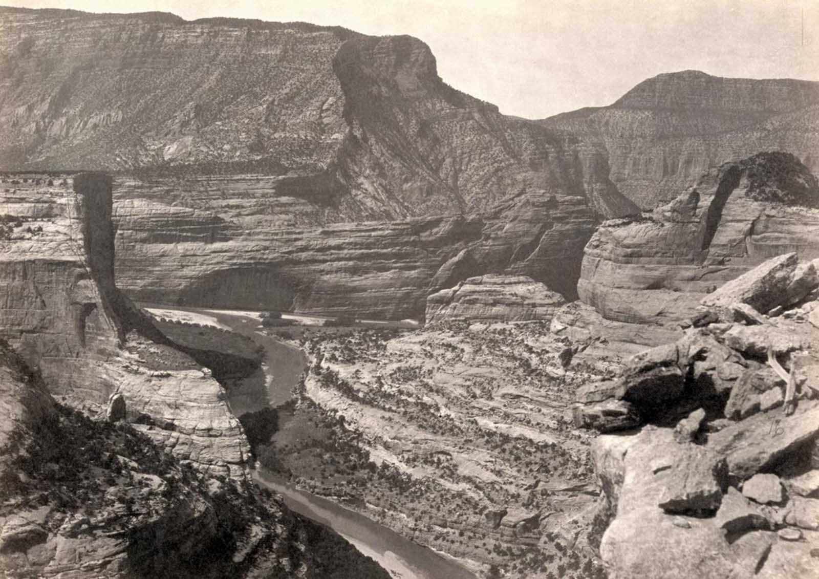 The junction of Green and Yampah Canyons, in Utah, in 1872.