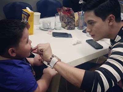 Baby Baste and Alden during lunch break