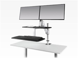 Dual Screen Sit To Stand Workstation with Keyboard Tray