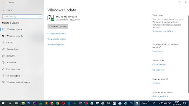 Gunakan fitur Windows Update / pastikan Up to Date