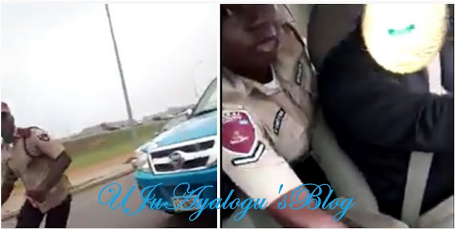 FRSC Officer Caught Fighting Driver, Attempts Pulling Gear [VIDEO]