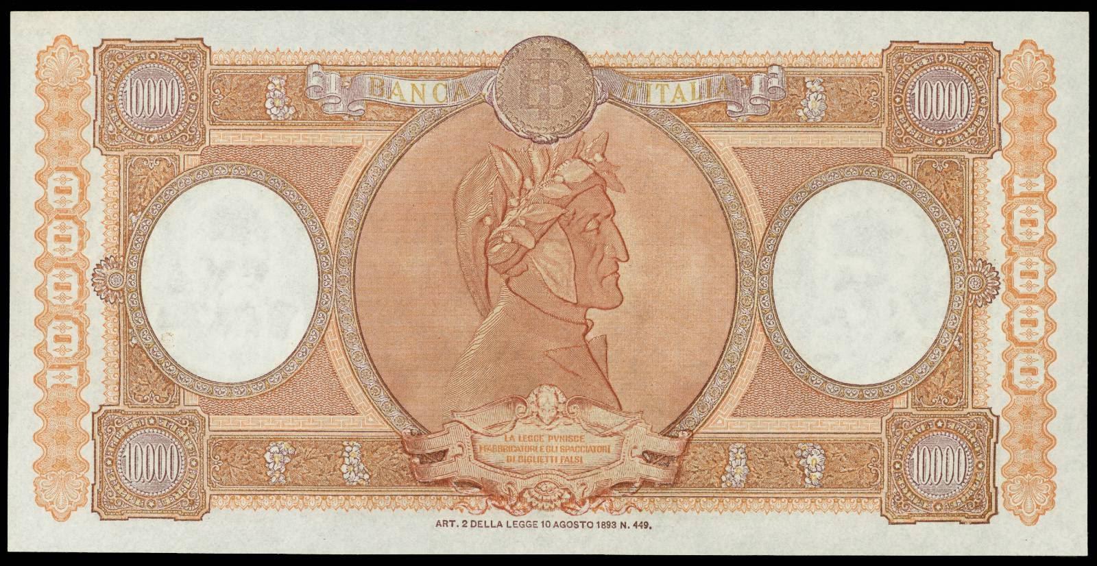 Italy 10000 Lira note 1955 Dante