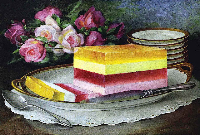 a 1922 color illustration of a layered gelatin dessert
