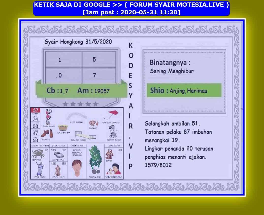 Kode syair Hongkong Minggu 31 Mei 2020 258