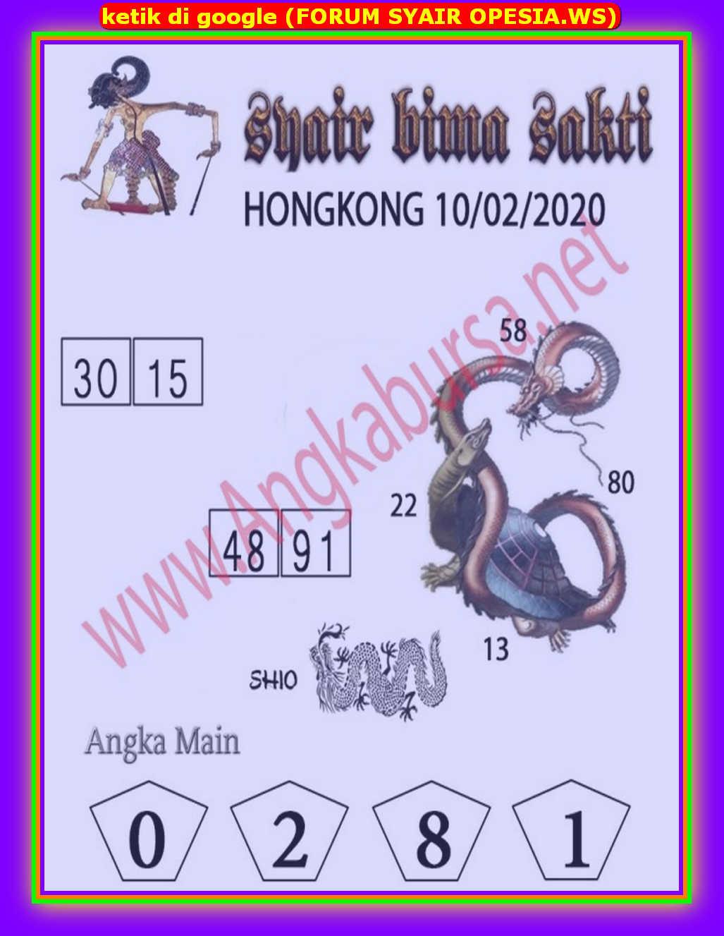 Kode syair Hongkong Senin 10 Februari 2020 172