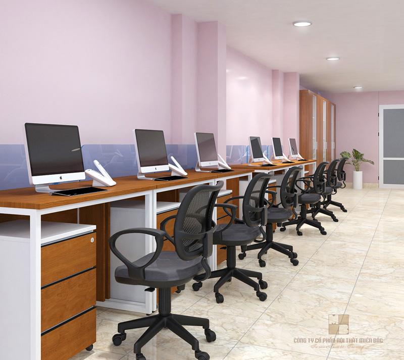 Thiết kế văn phòng làm việc hiện đại với chất liệu gỗ veneer