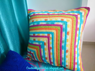 Large 24 inches crochet cushion