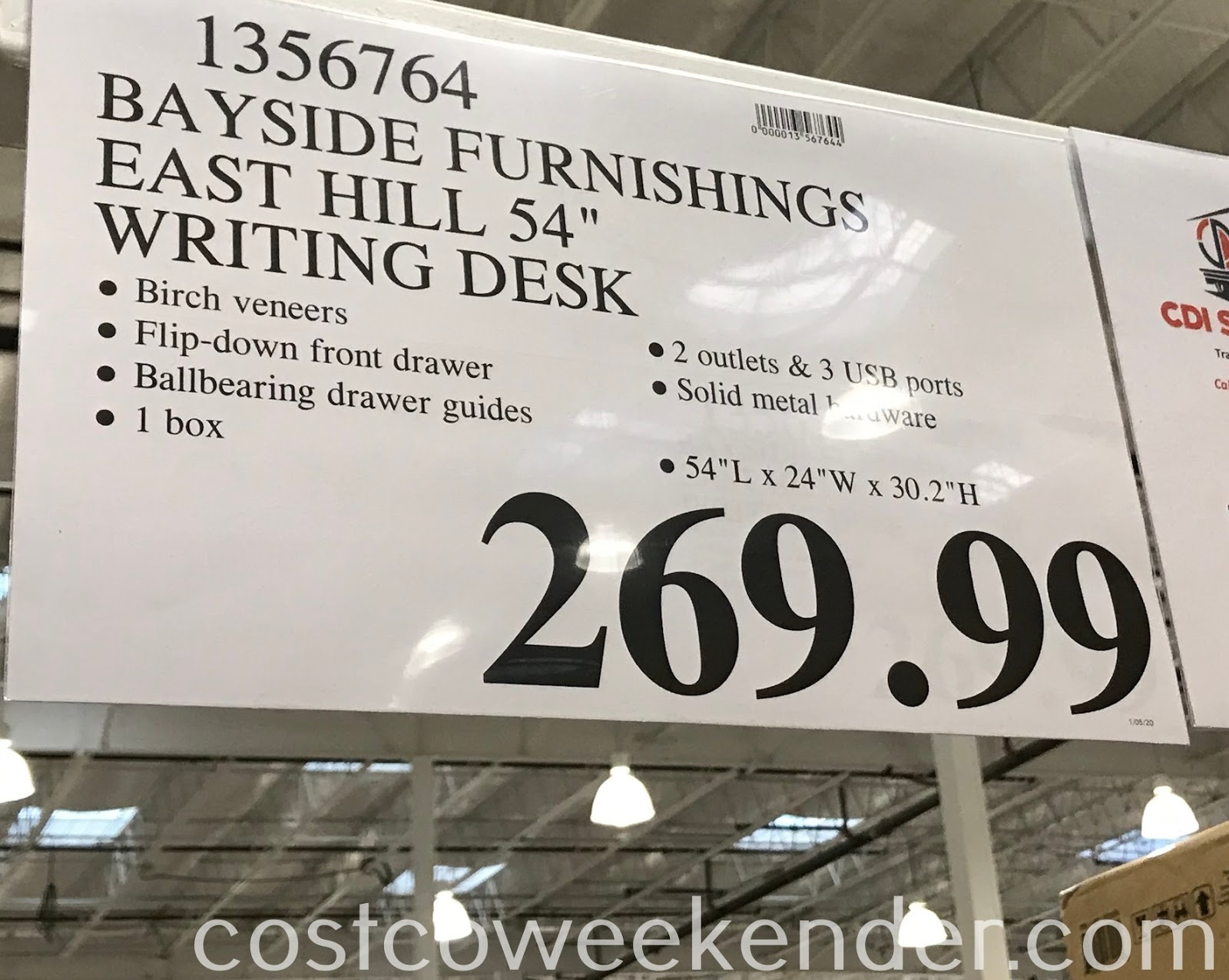 Deal for the Bayside Furnishings East Hill Writing Desk at Costco