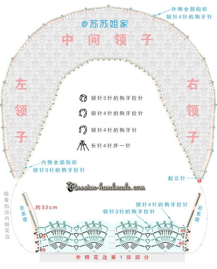 Схемы вязания крючком кружевного воротника (3)