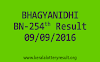 BHAGYANIDHI BN 254 Lottery Results 9-9-2016