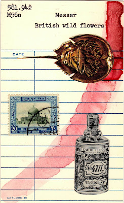 library card dada fluxus horseshoe crab postage stamp Cologne bottle collage
