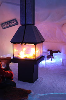 Roaring Fire inside the Ice Hotel.