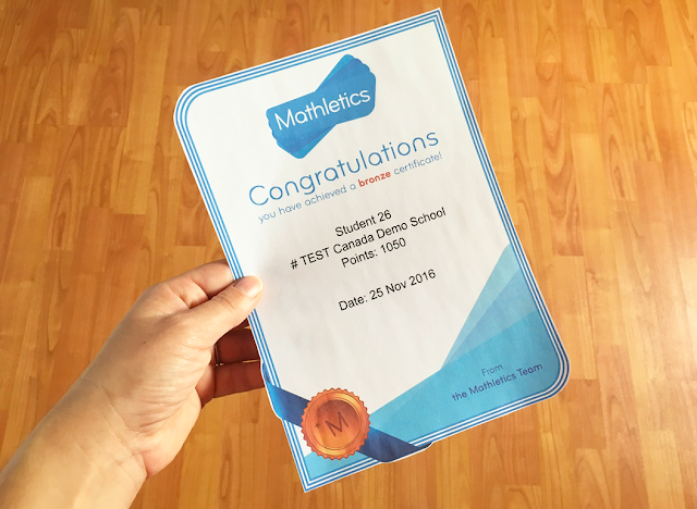 Mathletics student certificate