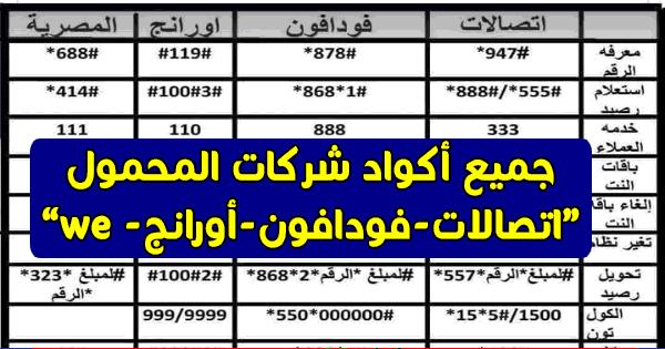 """ننشر اكواد شبكات المحمول فى مصر """" اتصالات - فودافون - اورانج - WE """" للاشتراكات وتجديد الباقة والاستعلامات هنااا"""
