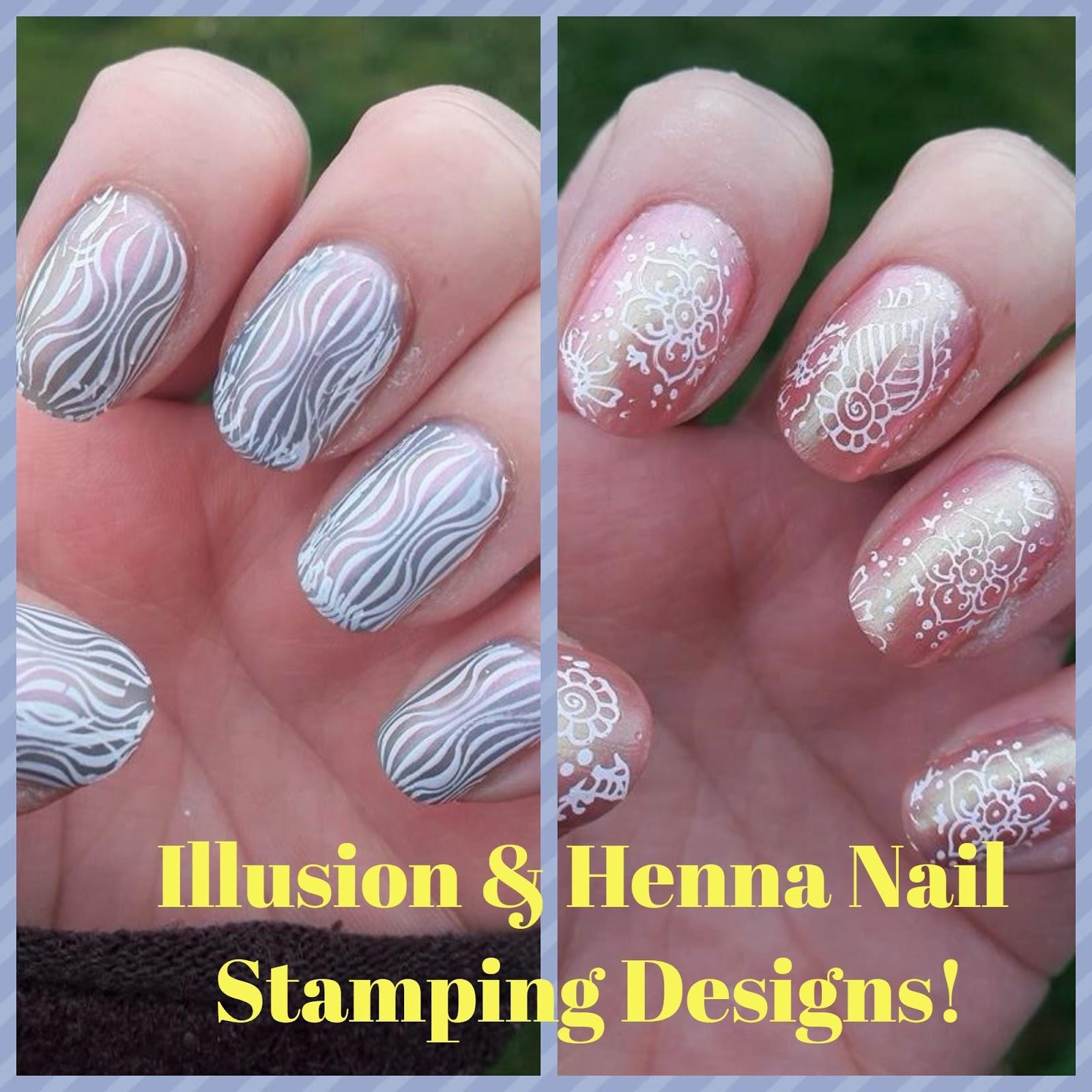 Illusion & henna nail stamping designs!