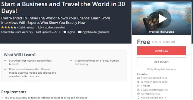 [100% Off] Start a Business and Travel the World in 30 Days!| Worth 19,99$
