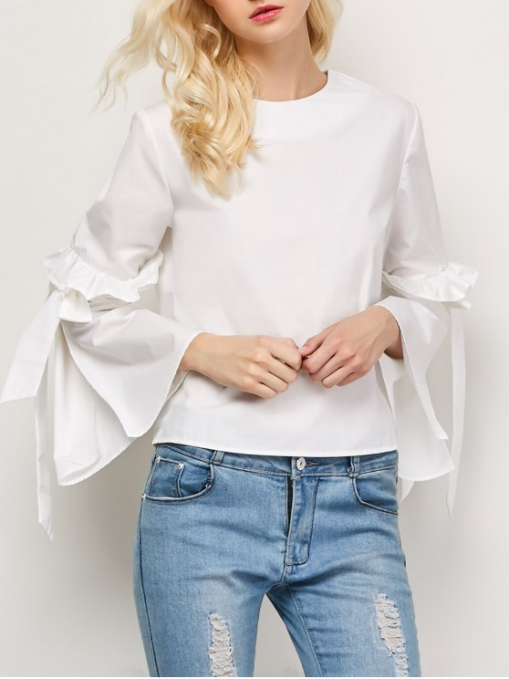 Oversized Flare Sleeve Flounced Blouse - White
