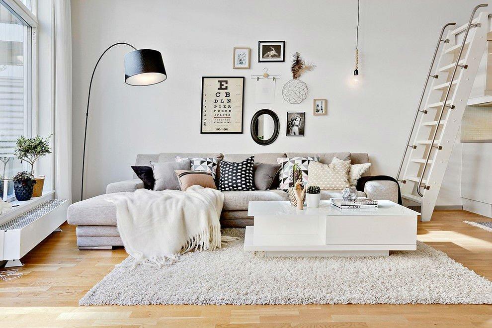 black white and gray Scandinavian living room decor