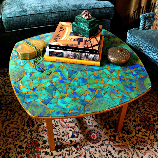 Cardboard Mosaic Table with Gel Press