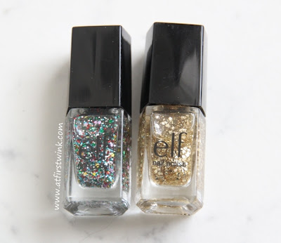 the two glitter top coats that comes in both of the e.l.f. Essential 14-Piece Nail Cube