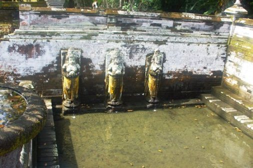 Goa Gajah Bali & History of Hinduism and Buddhism , Elephanta Caves Bali , Ancient Petirtaan Pool , Ancient Petirtaan Pool