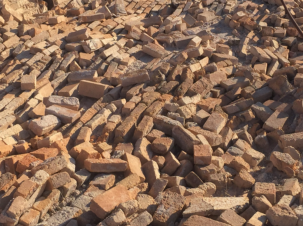 pile of bricks from earthquake collapse at Swansea Ghost Town