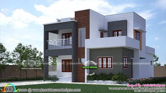 1975 square feet flat roof box model Kerala home design