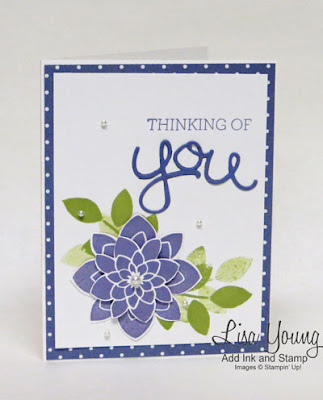 Crazy About You stamp set, Medallion punch, Purple floral card. Handmade card by Lisa Young, Add Ink and Stamp