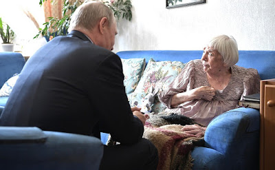 Vladimir Putin and Lyudmila Alexeyeva on her 90th birthday.