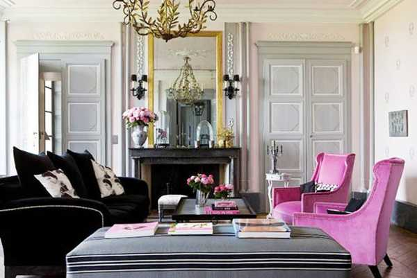 Best pink and black Feminine Living Room Design Ideas 2016