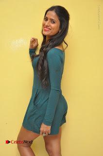 Telugu Actress Prasanthi Stills in Green Short Dress at Swachh Hyderabad Cricket Press Meet  0054.JPG