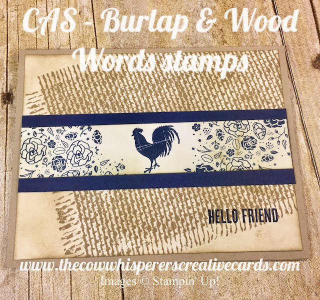 CAS, Clean & Simple, Burlap, Wood Words, Rustic, Farm, Stampin Up, Card