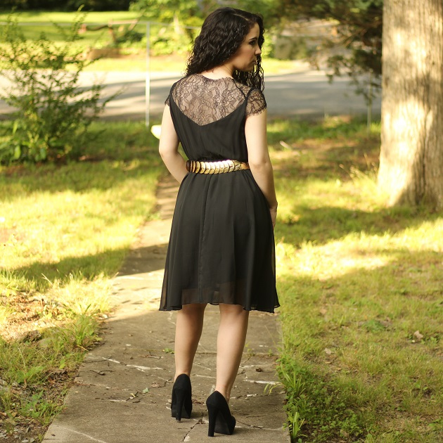 Black Lace Shoulder Dress
