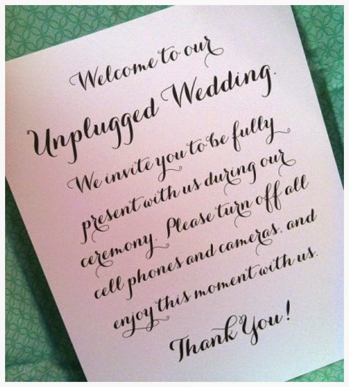 No Ceremony Just Reception: Wediquette And Parties: Unplugged Weddings