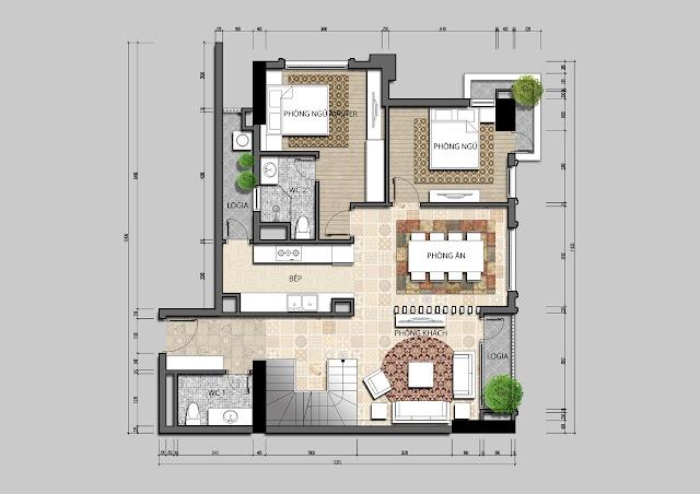 Thiết kế tầng 1 căn hộ Penhouse Iris Garden