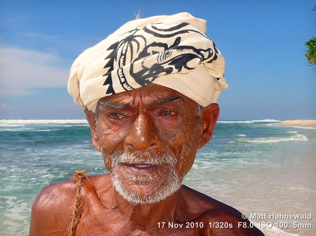 close up, street portrait, headshot, people, outdoors, Sri Lanka, Unawatuna, stilt fishing, old fisherman