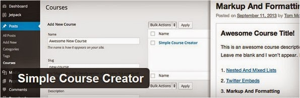 Simple Course Creator plugin for WordPress