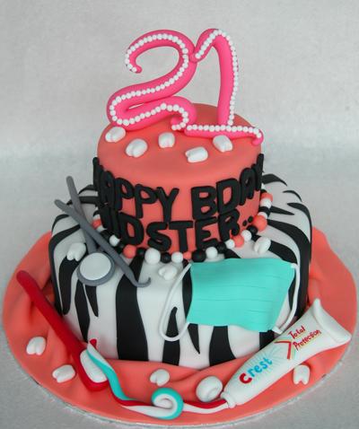 21st Dentist Theme Birthday Cake