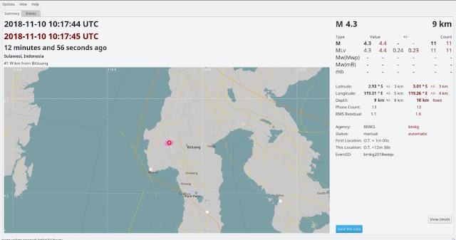 Sesar Makassar Aktif, Gempa Dangkal 4.3 SR Berpusat di Darat Mamasa