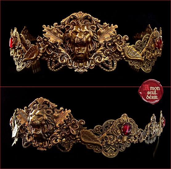 couronne leo tiare medievale lion crown Lannister Cersei circlet medieval fantasy jewelry game of thrones queen bronze renaissance fair tiara red garnet mythical