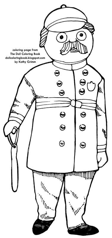 color this rag doll dressed as a policeman