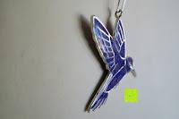schräg: Kunstvolles Silber Halskette mit Kolibri Anhänger